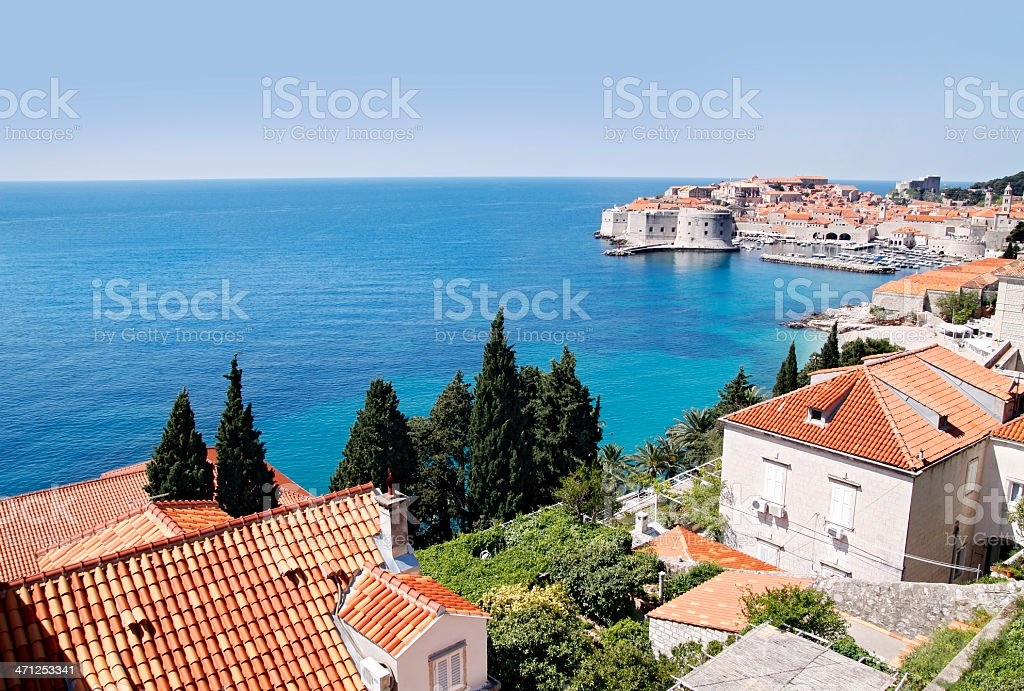 Dubrovnik Old Town & Fortress from the East stock photo