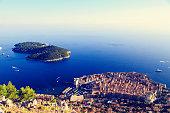 Dubrovnik Old Town in Croatia, aerial view