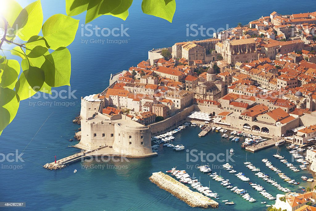 Dubrovnik old town port stock photo