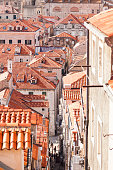 Dubrovnik old town roofs. Aerial view. Clearance through the narrow