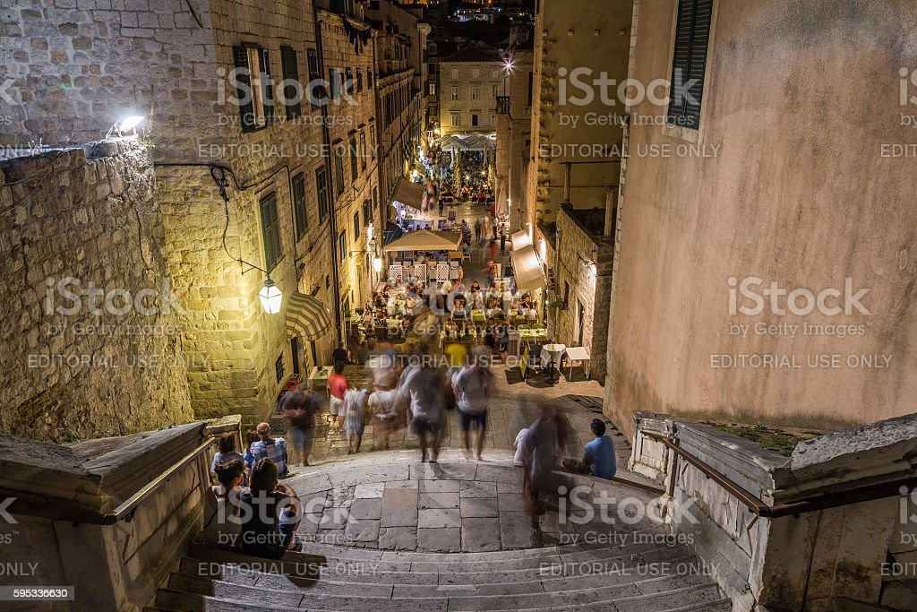 Dubrovnik Streets at Night stock photo