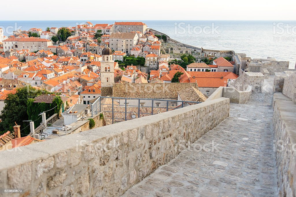 Dubrovnik wall ramparts stock photo