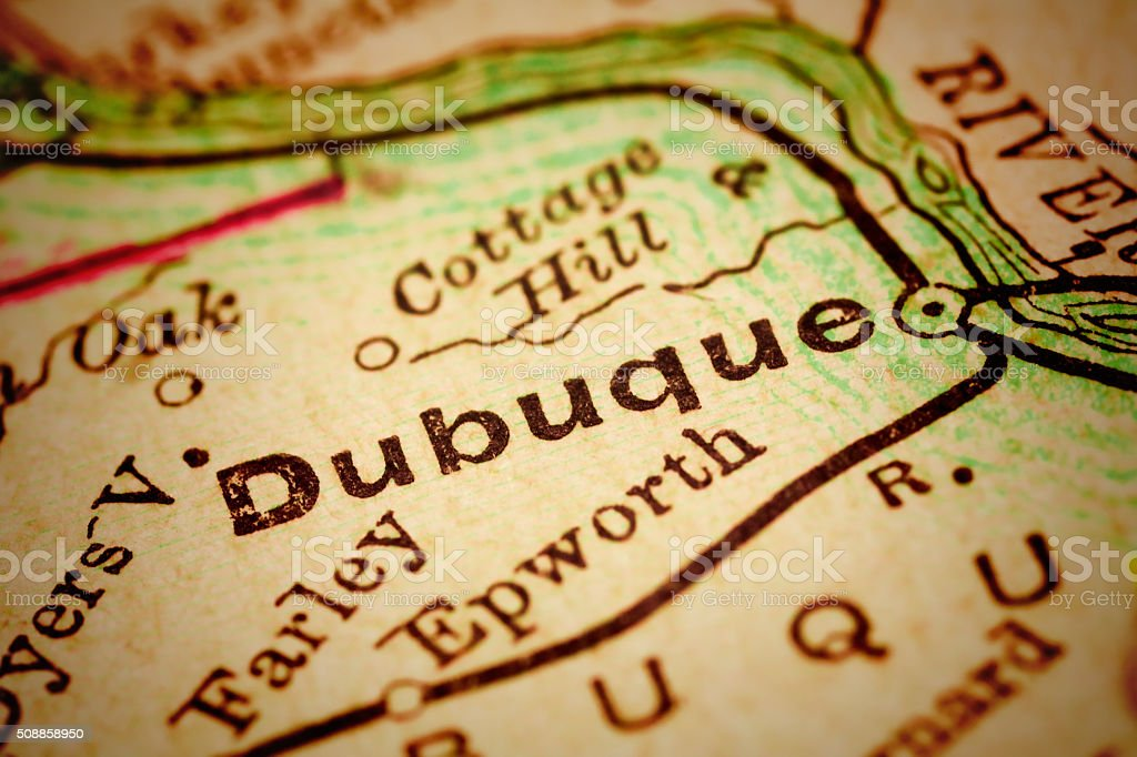 Dubuque, Iowa on an Antique map stock photo