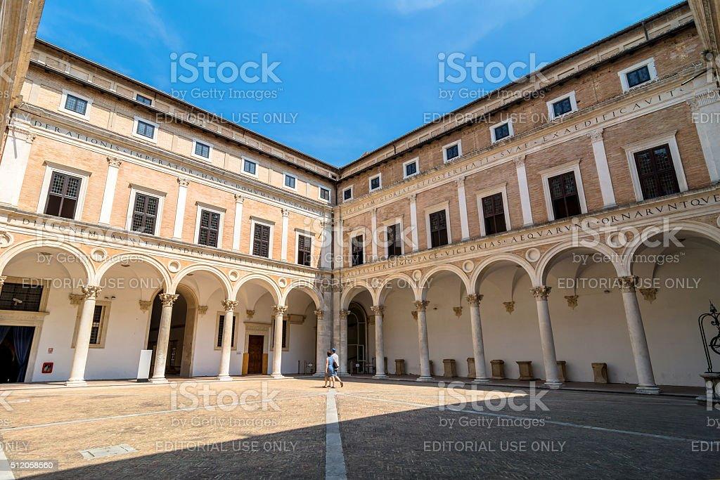 Ducal Palace courtyard in Urbino, Italy stock photo