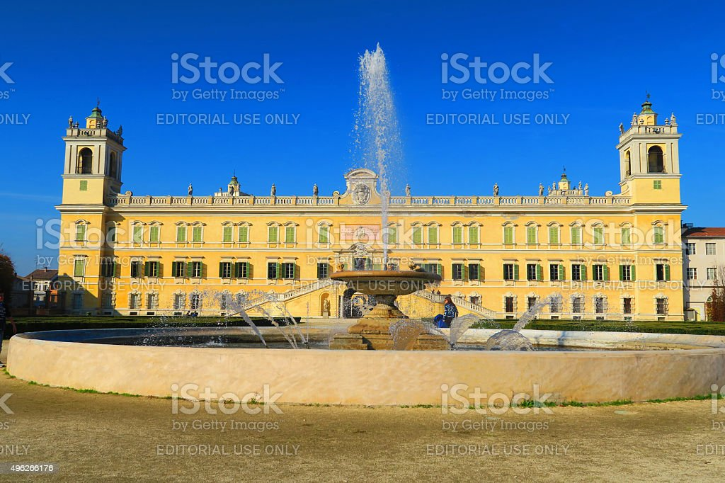 Ducal palace of Colorno seen from the fountain stock photo