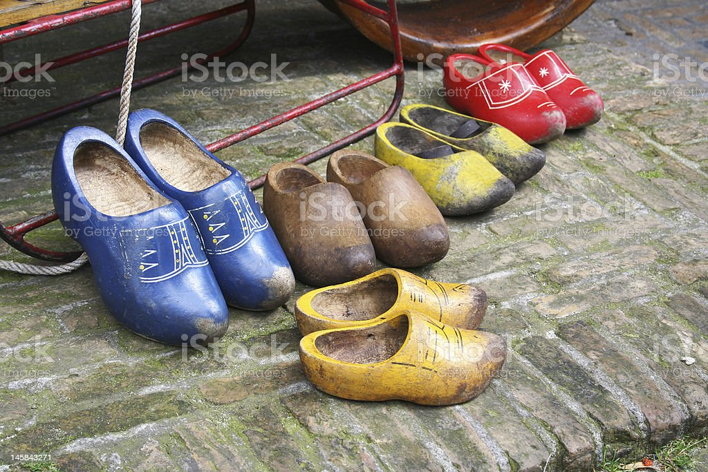 Duch wooden shoes - clogs royalty-free stock photo
