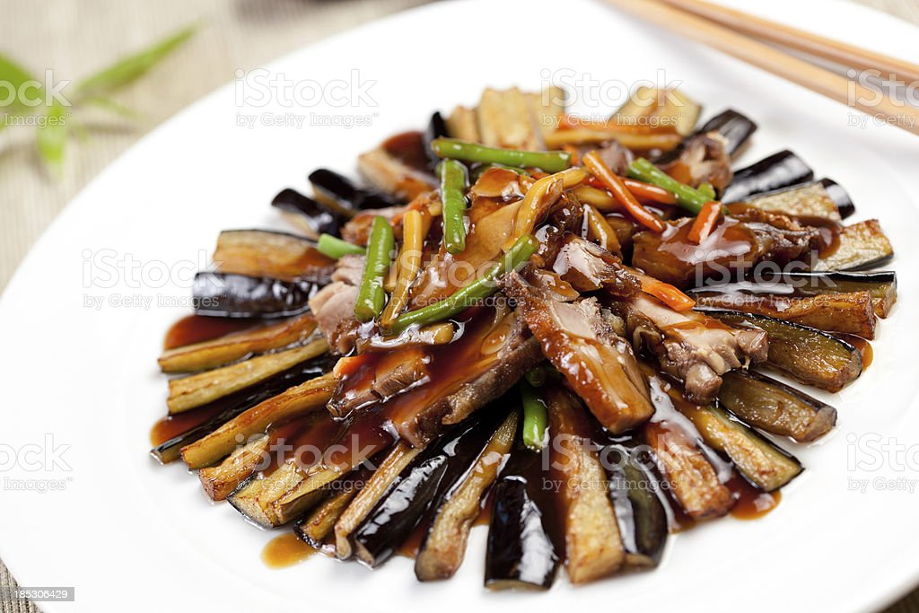 duck and aubergine strips royalty-free stock photo