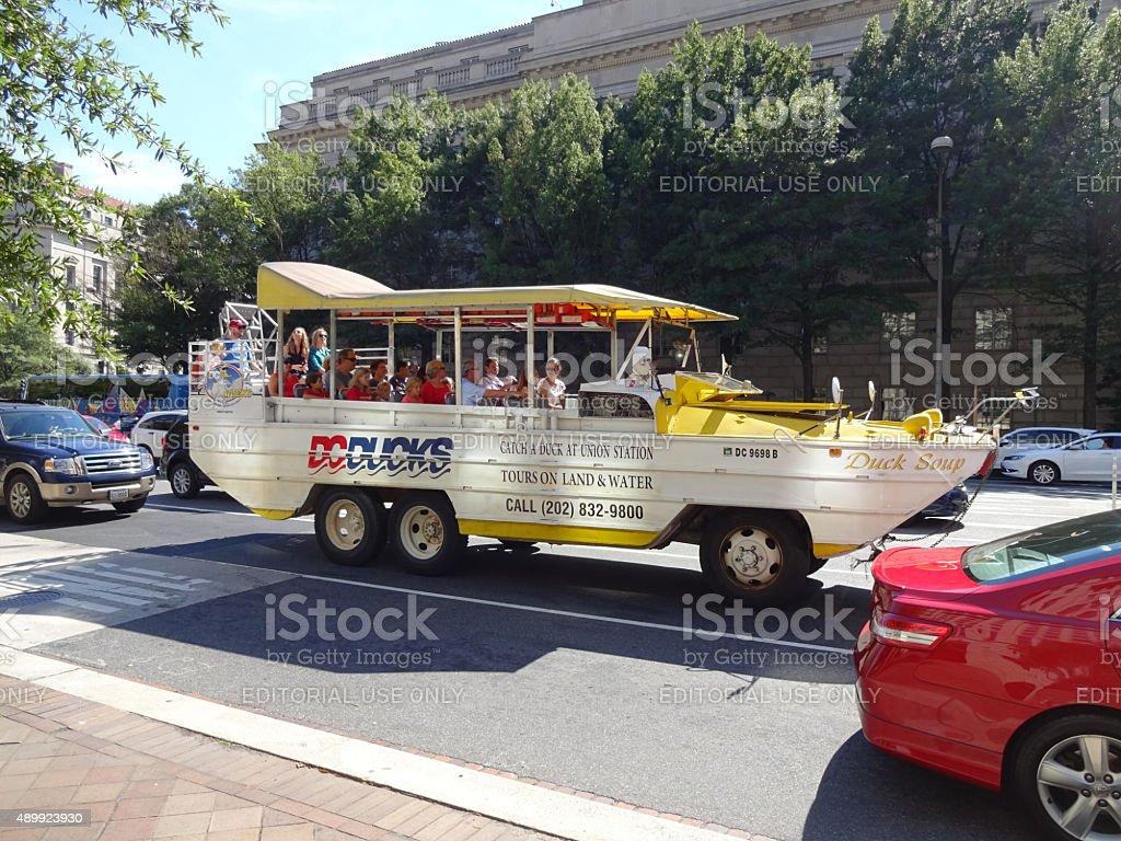 Duck Boat Tour in Washington DC stock photo