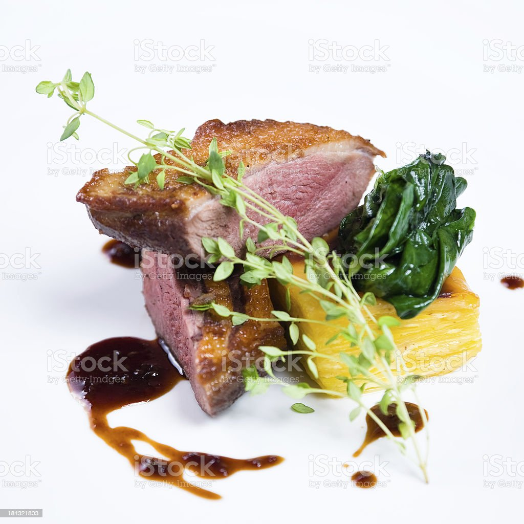 Duck Breast with potatoes au gratin stock photo