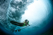 Duck dive from beneath the water