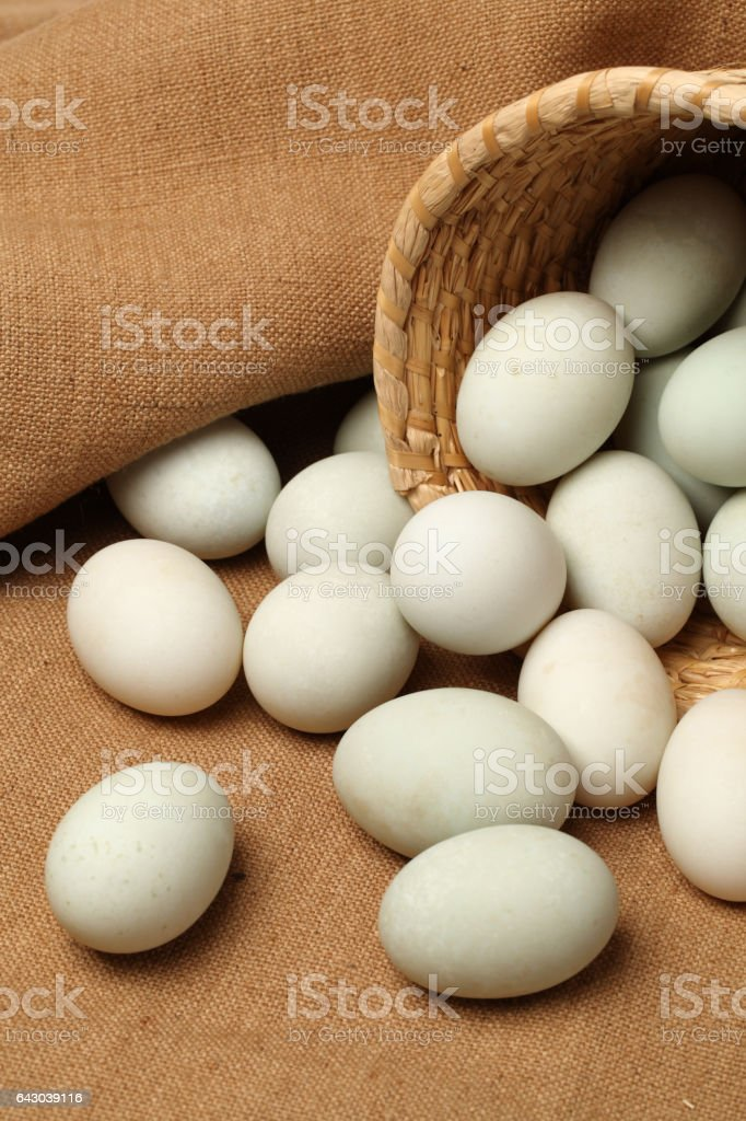 Duck eggs isolated on white background. With clipping path stock photo