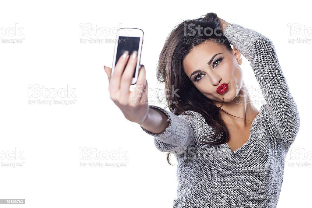 duck face selfie stock photo