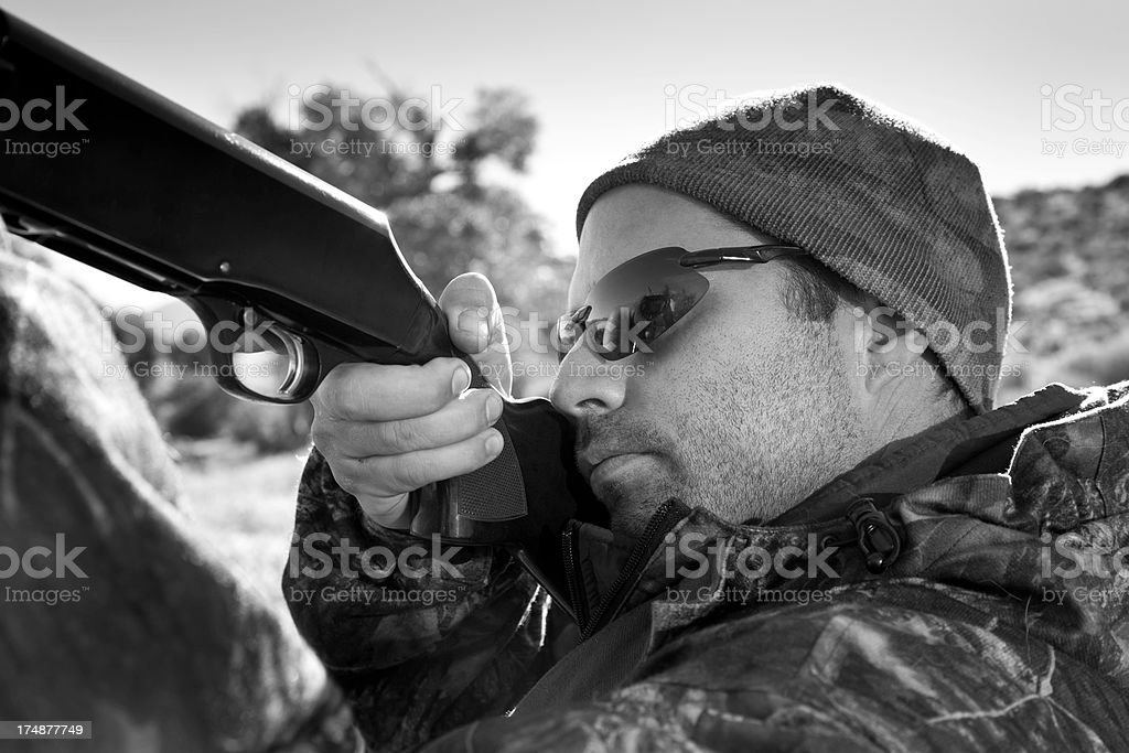 Duck Hunter by Lake royalty-free stock photo