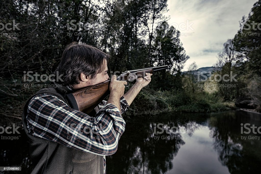 Duck hunting stock photo