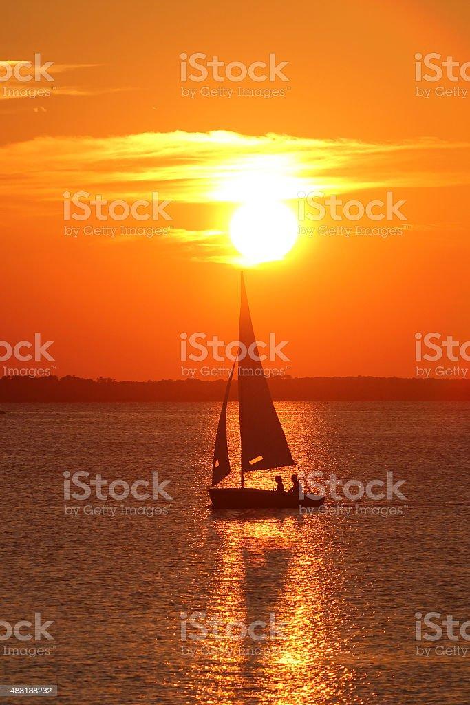 Duck Sound Sunset stock photo