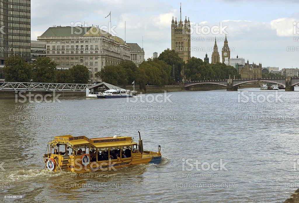 Duck Tour of London stock photo