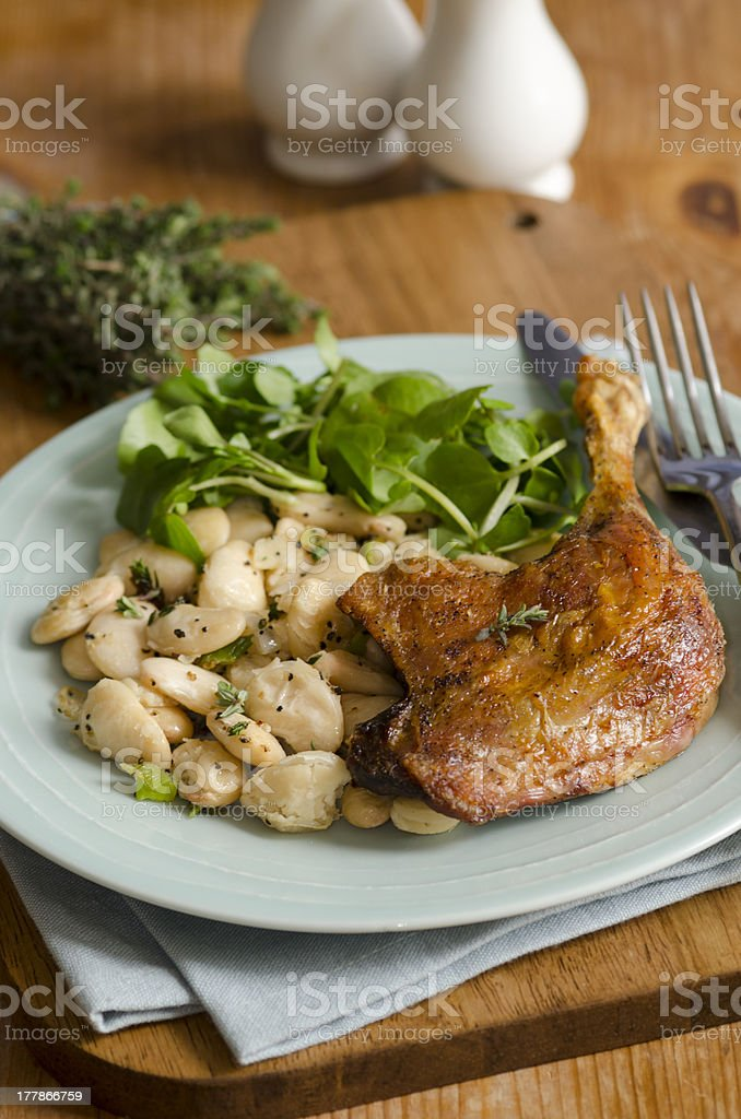 Duck with beans royalty-free stock photo