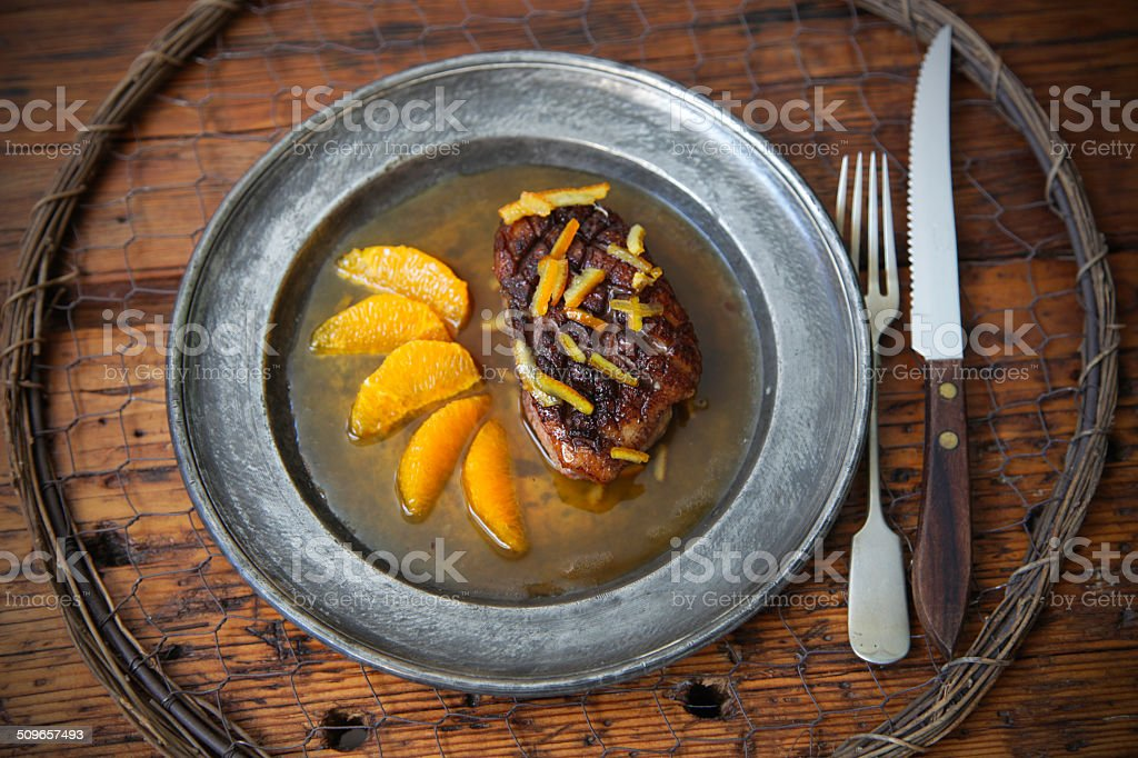 Duck with orange stock photo