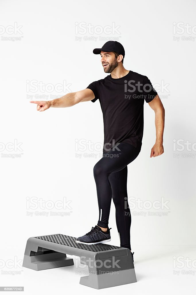 Dude steps up stock photo