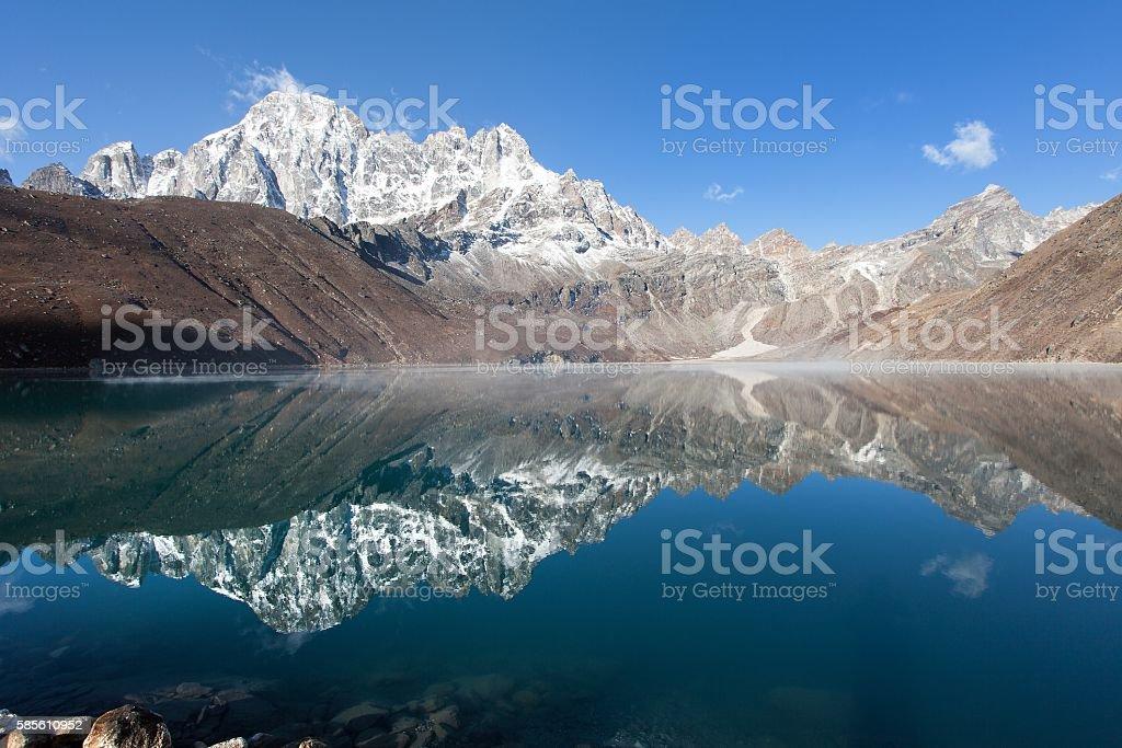 Dudh pokhari Gokyo lake and Phari Lapche peak stock photo