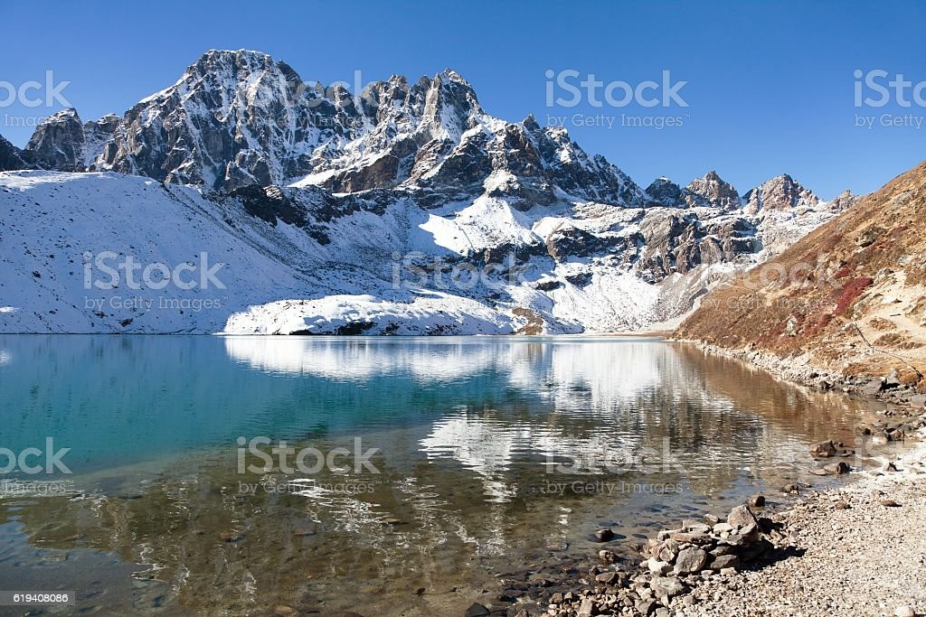 Dudh pokhari Gokyo lake and Phari Lapche peak stock photo