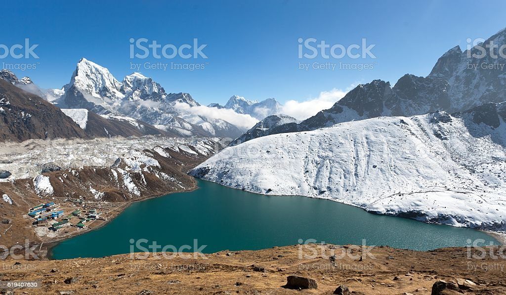 Dudh Pokhari Tso or Gokyo lake, Gokyo village stock photo
