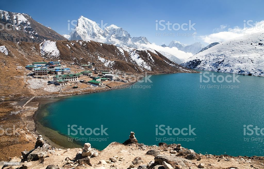 Dudh Pokhari Tso or Gokyo lake stock photo