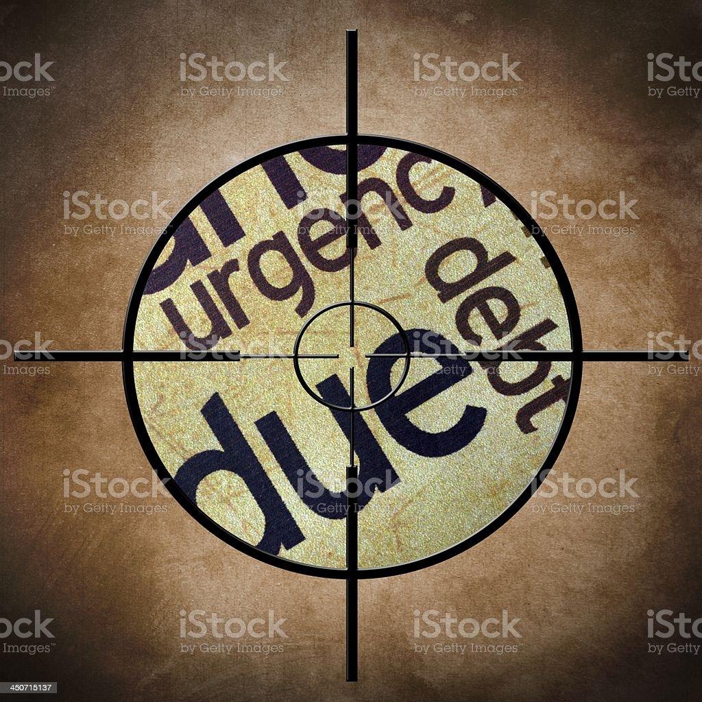 Due debt target concept stock photo
