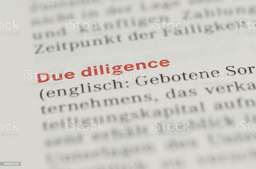 Due Diligence Wort stock photo