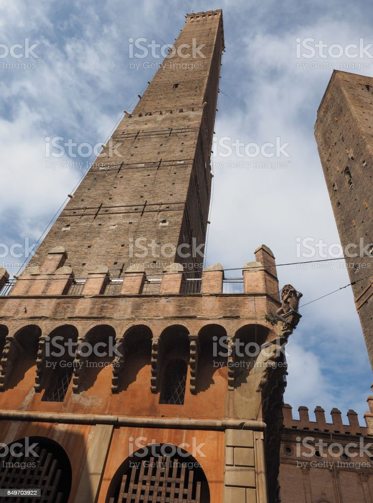 Due torri (Two towers) in Bologna stock photo