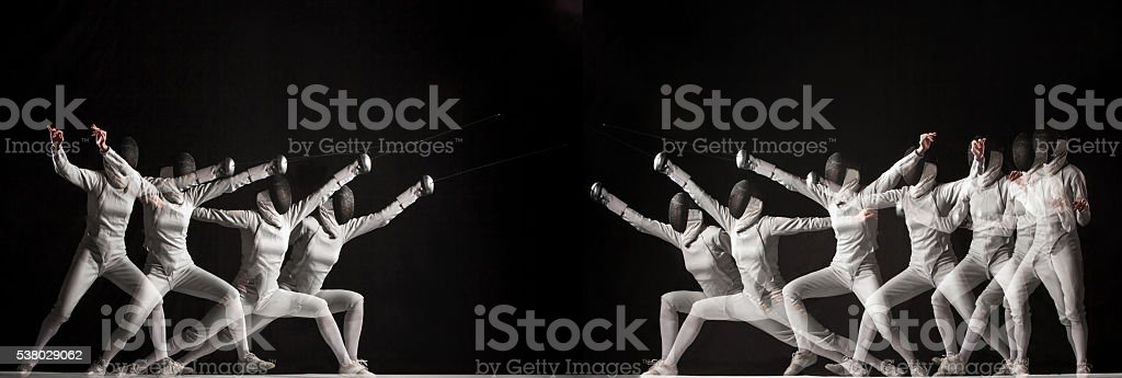 Duel fencers on a black background. collage of photos taken stock photo