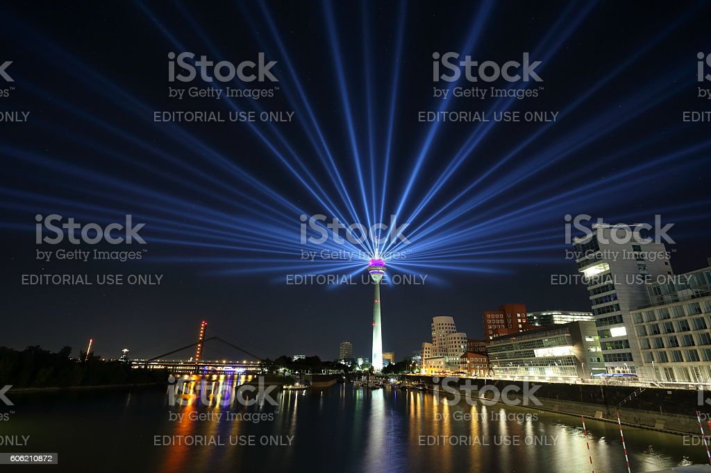 Duesseldorf media harbor and Rheinturm tower stock photo
