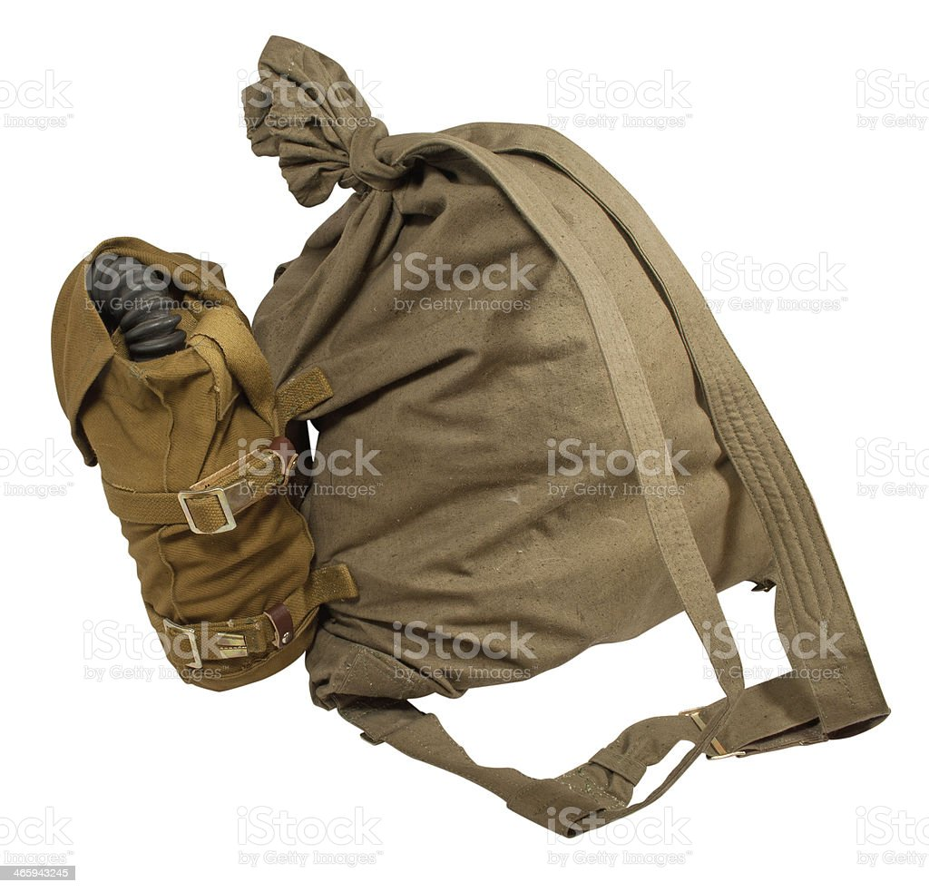 Duffel bag and gas mask in pouches royalty-free stock photo