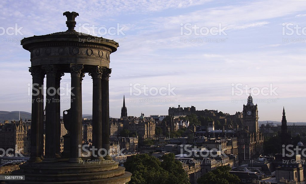 Dugald Stewart monument and Edinburgh skyline at dusk royalty-free stock photo