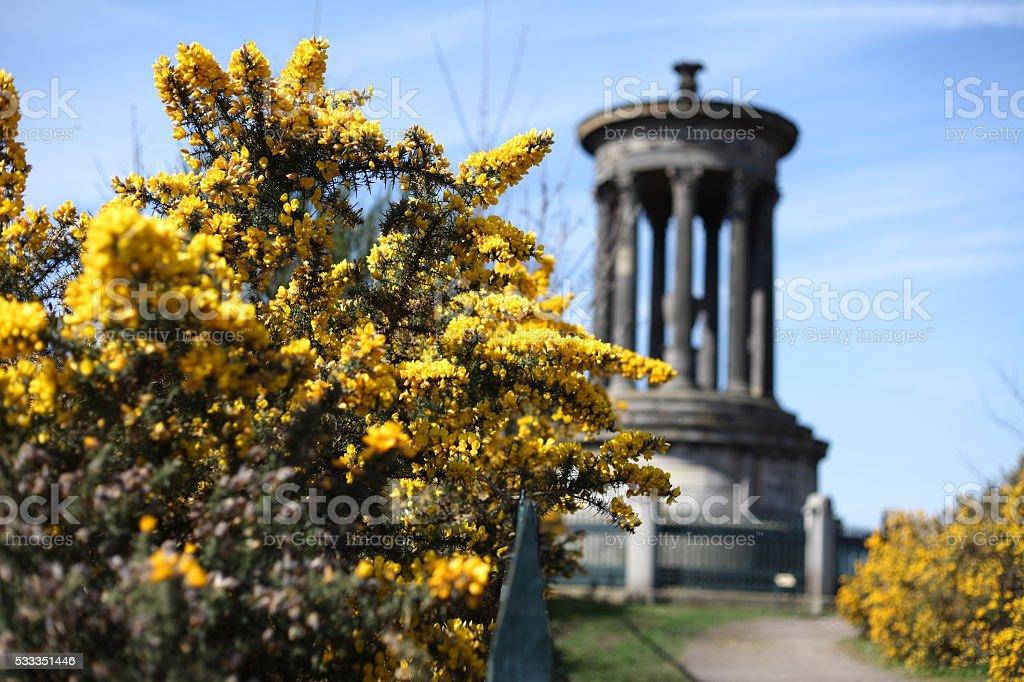 Dugald Stewart Monument, Calton Hill in Edinburgh stock photo