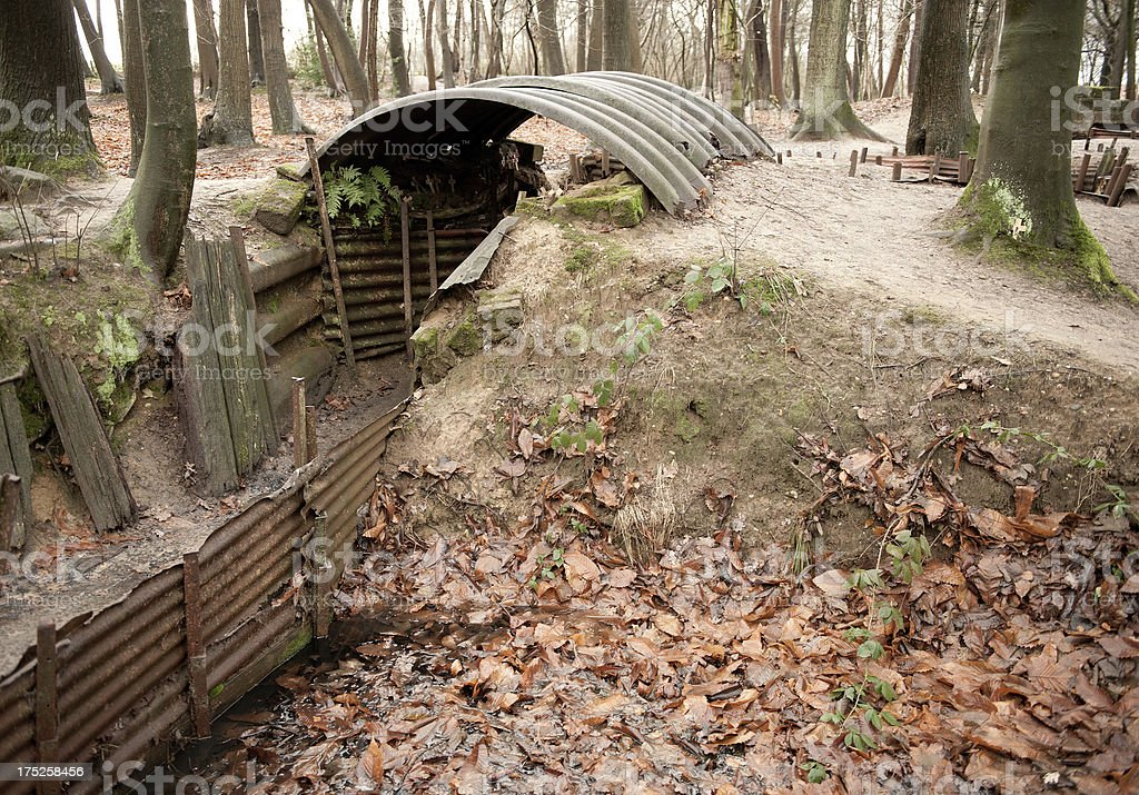 WW1 Dugout With Trench, Ypres, Begium royalty-free stock photo