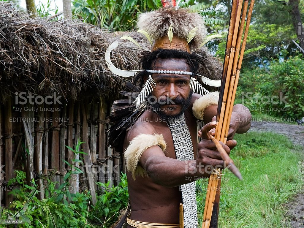 Dugum Dani warrior. royalty-free stock photo