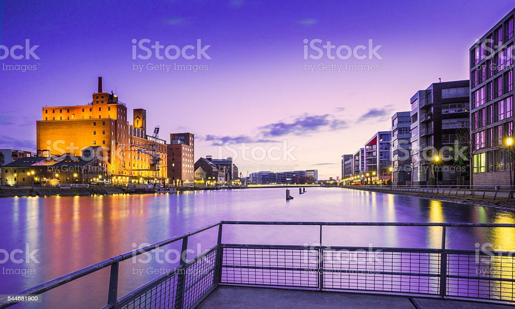 Duisburg in the evening stock photo