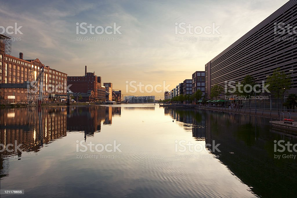 Duisburg Inner Harbor at Sunset stock photo