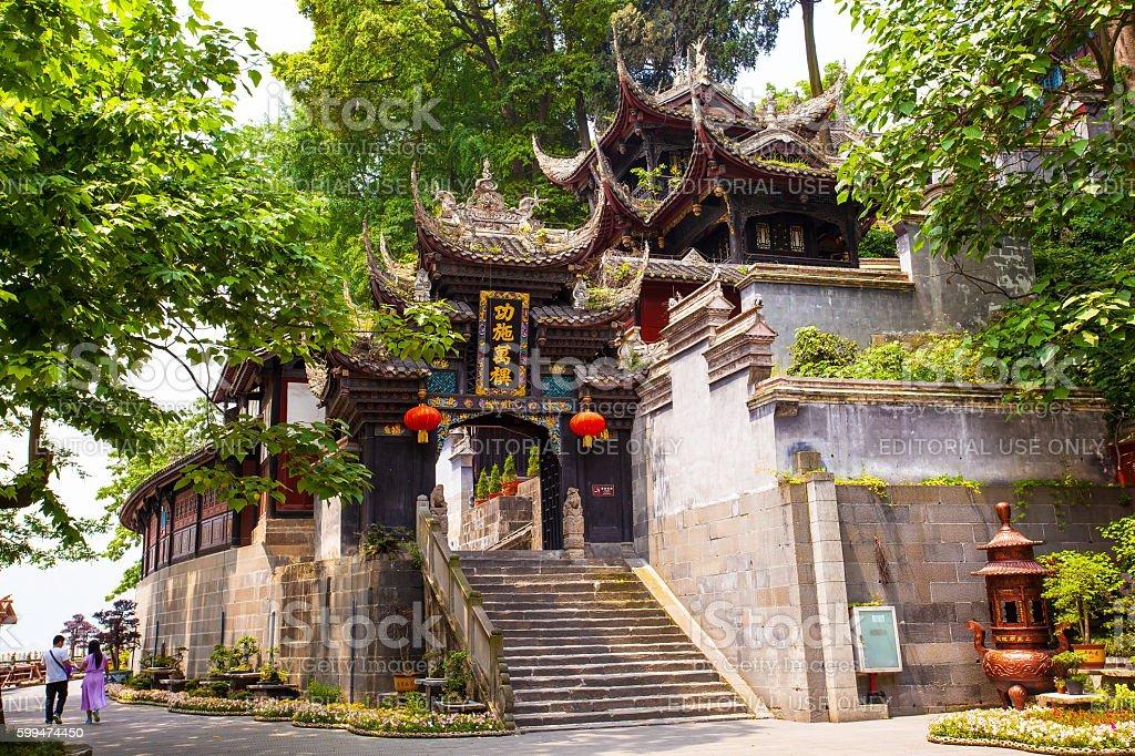 Dujiang Weir`s Erwang(Two Nobilities) temple scecery stock photo