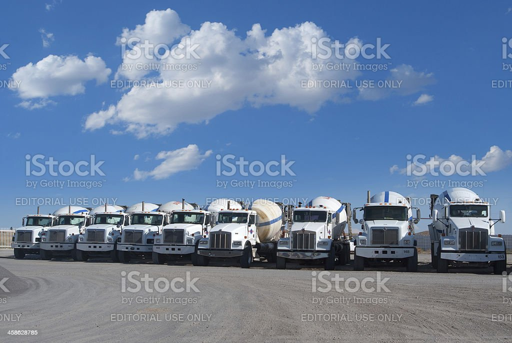 Duke City Redi-Mix Lined Up Cement Trucks royalty-free stock photo