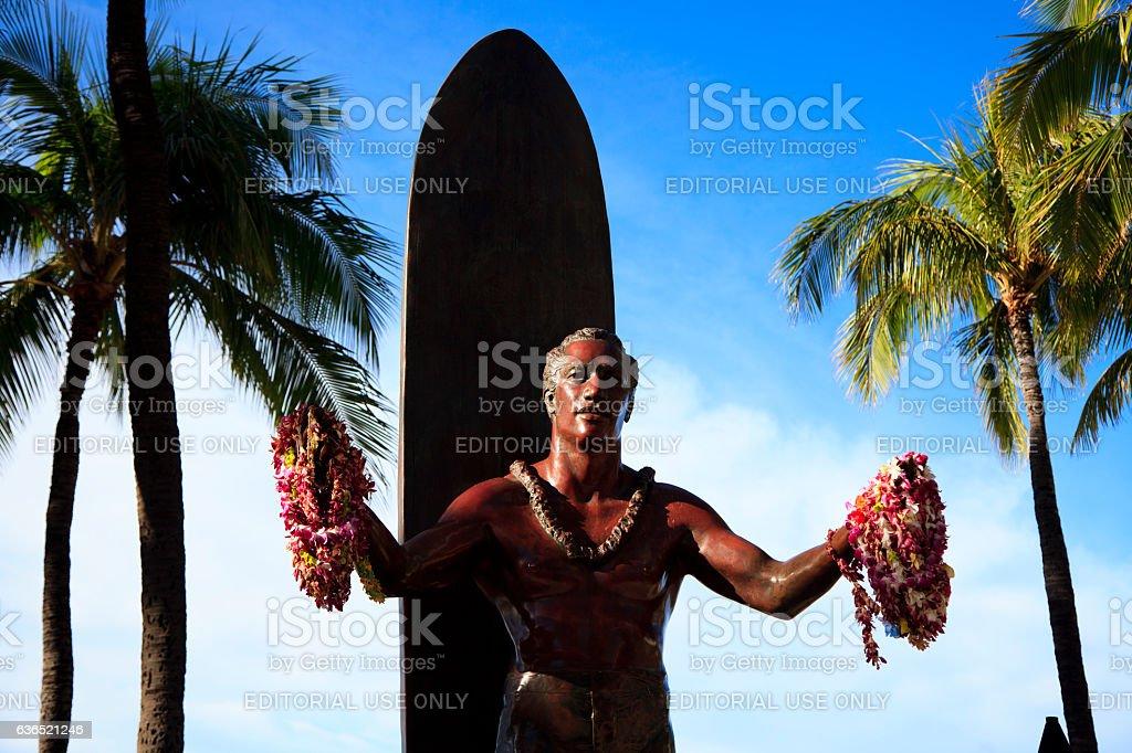 Duke Kahanamoku Statue on Waikiki Beach stock photo