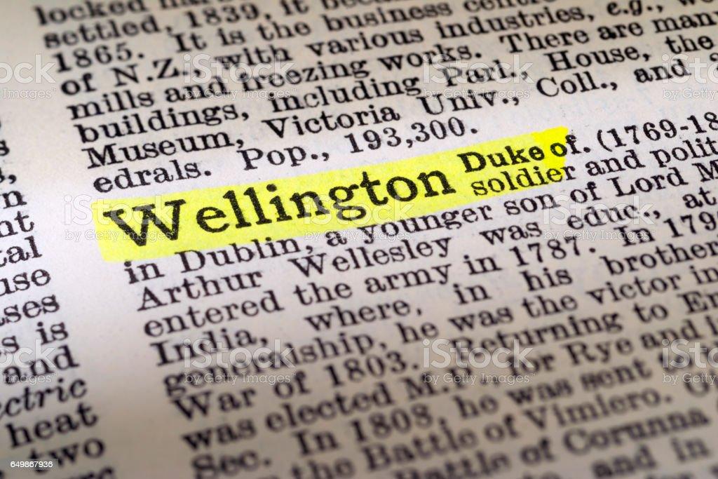Duke of Wellington - dictionary definition highlighted stock photo