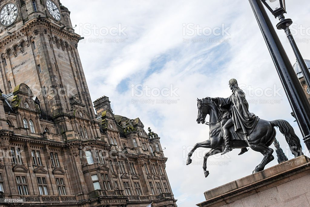 Duke of Wellington statue in Edinburgh stock photo