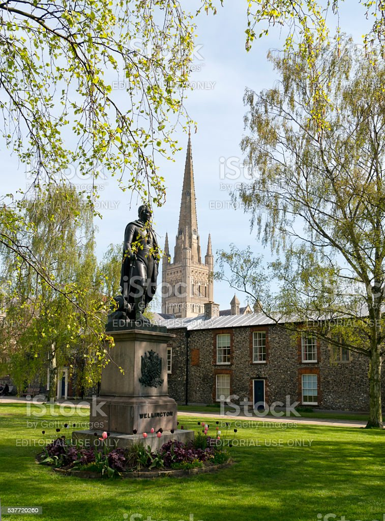 Duke of Wellington's statue in Norwich Cathedral Close stock photo