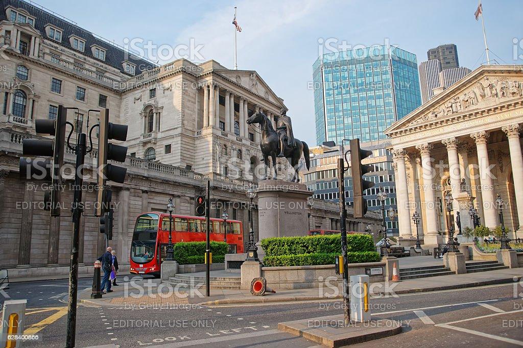 Duke Wellington statue Royal Exchange and Bank of England London stock photo
