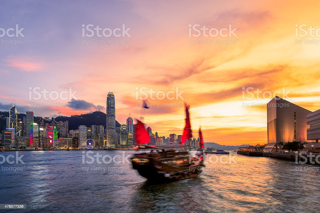 Dukling Boat over Victoria Harbour, Hongkong stock photo