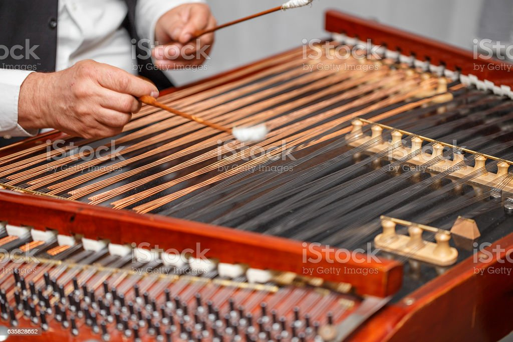 Dulcimer folk musical instrument stock photo