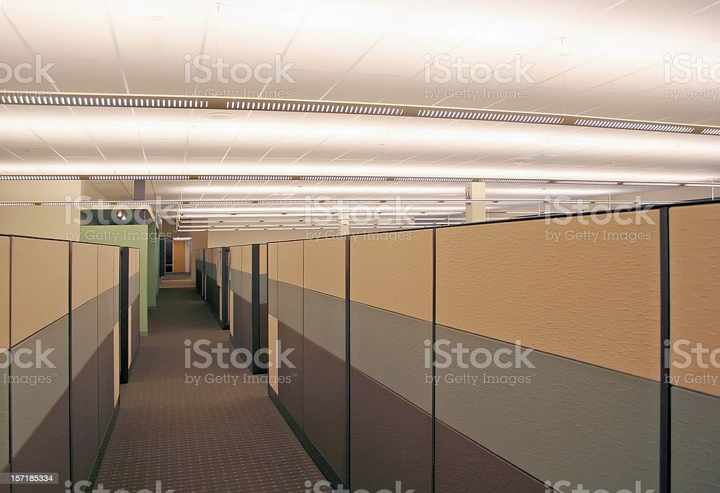 Dull Grey Cubicle Hallway stock photo