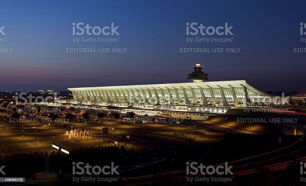 Dulles airport at dawn near Washington DC stock photo
